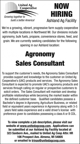 Now Hiring - Agronomy Sales Consultant