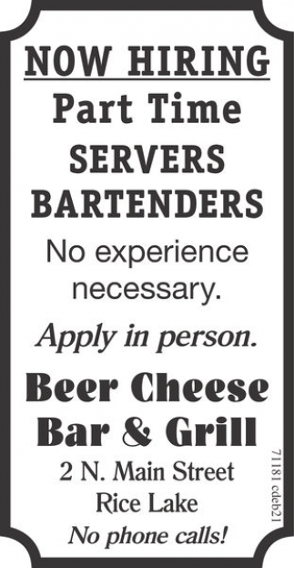 Part Time Servers Bartenders