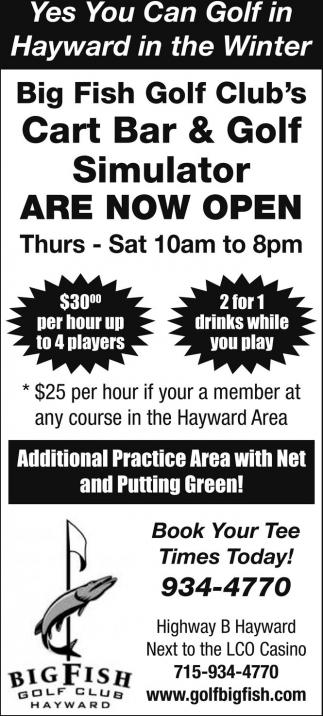 Cart Bar & Golf Simulator Are Now Open
