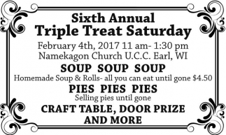 Soup, Pies, Craft Table, Door Prize