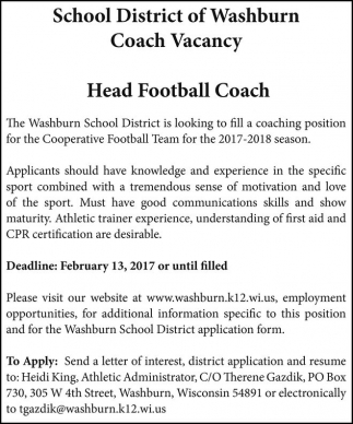 Coach Vacancy, Head Football Coach