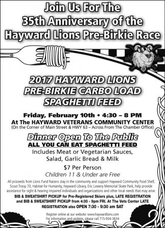 35th Anniversary of the Hayward Lions Pre-Birkie Race