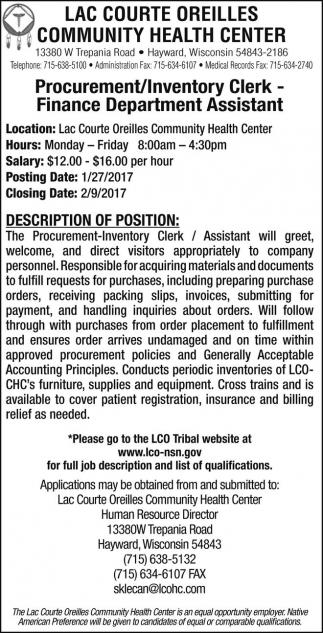 Procurement/Inventory Clerk - Finance Department Assistant
