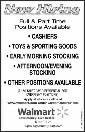 Now Hiring, Walmart Rice Lake, Rice Lake, Wi