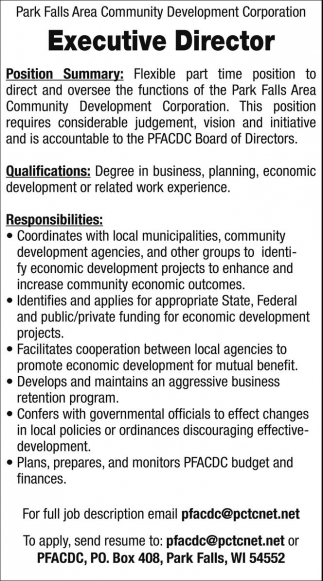 Park Falls Area Community Development Corporation  Executive