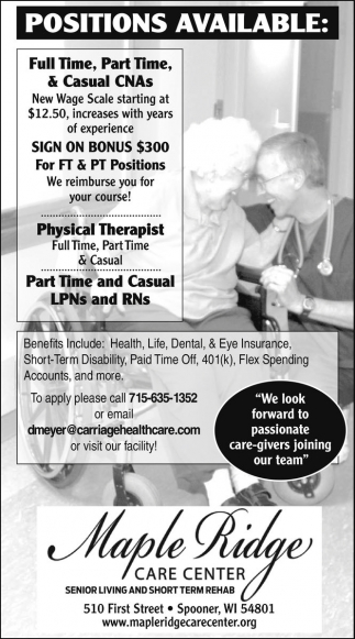 Full Time, Part Time & Casual CNAs