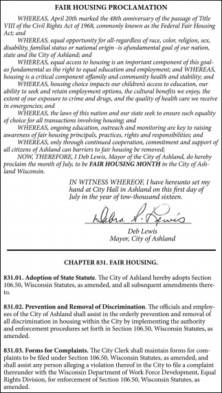 FAIR HOUSING PROCLAMATION