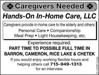 Jobs Rice Lake Wi Caregivers Needed Hands On In Home Care