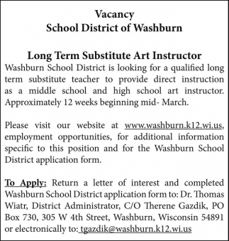 Long Term Substitute Art Instructor