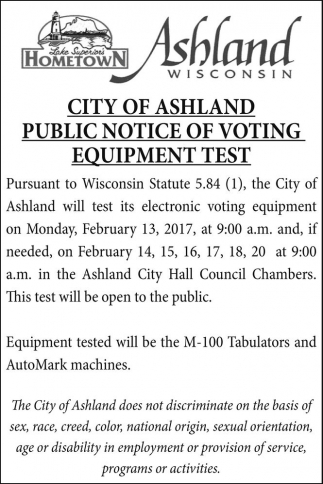 Public Notice of Voting Equipment Test