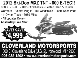2012 Ski-Doo MXZ TNT - 800 E-TEC!