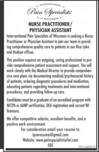 Nurse practitioner physiciam assistant interventional pain nurse practitioner physiciam assistant interventional pain specialists of wisconsin rice lake wi xflitez Image collections