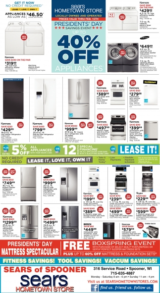 President's Day 40% off appliances