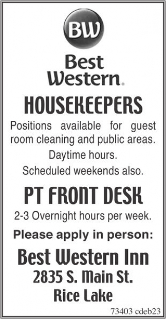 Housekeepers / PT Front Desk