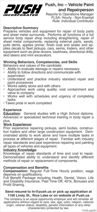 push inc vehicle paint and repairperson employment ads from push inc vehicle paint and repairperson employment ads from rice lake chronotype
