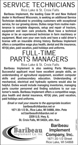 Service Technicians / Full-time Parts Managers