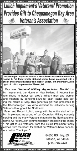 Lulich Implement's Veterans' Promotion Provides Gift to Chequamegon Bay Area Veteran's Association