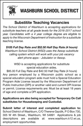 Substitute Teaching Vacancies
