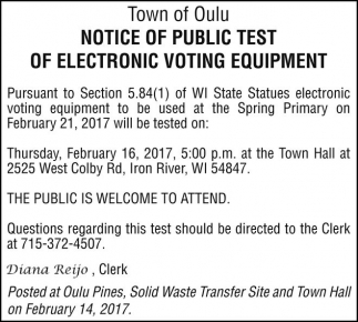 Notice of Public Test of Electronic Voting Equipment