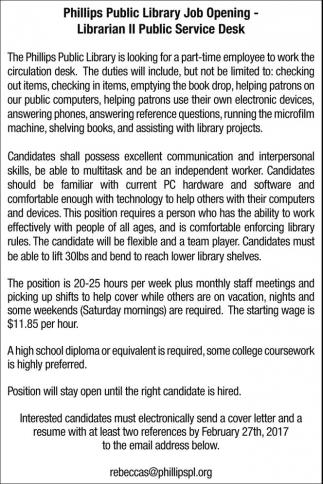 Librarian II Public Service Desk