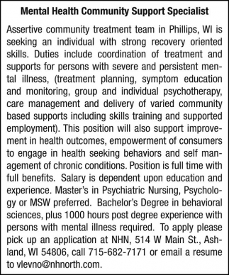 Mental Health Community Support Specialist