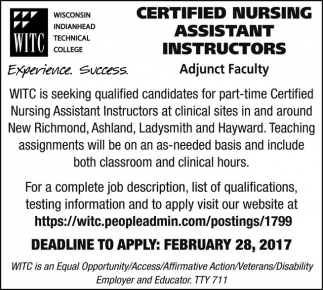 Certified Nursing Assistant Instructors