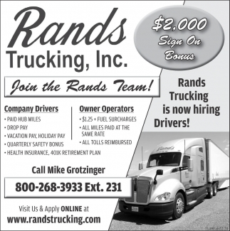 Company Drivers / Owner Operators