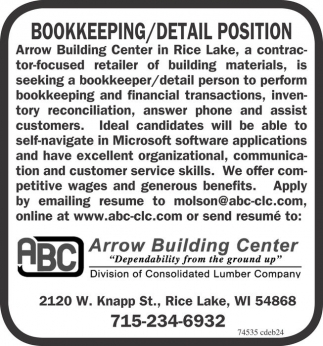 Bookkeeping / Detail Position