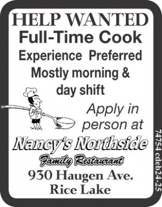 Full-Time Cook
