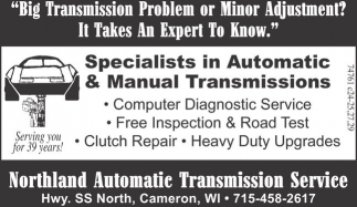 Specialists in Auctomatic & Manual Transmissions
