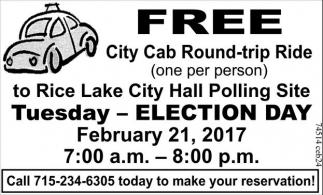 FREE City Cab Round-trip Ride