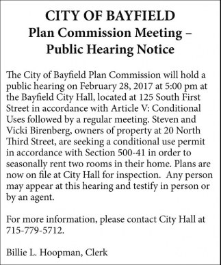 Plan Commission Meeting - Public Hearing Notice