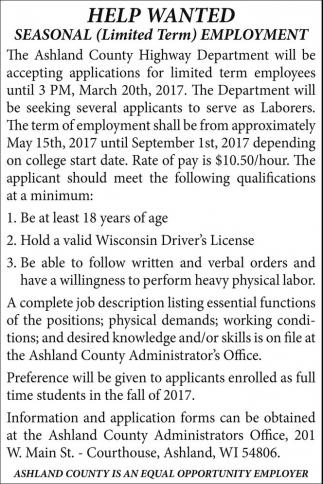 Seasonal (Limited Term) Employment
