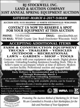 31st Annual Spring Equipmet Auction