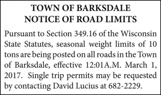 Notice of road limits