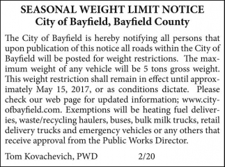 Seasonal Weight Limit Notice