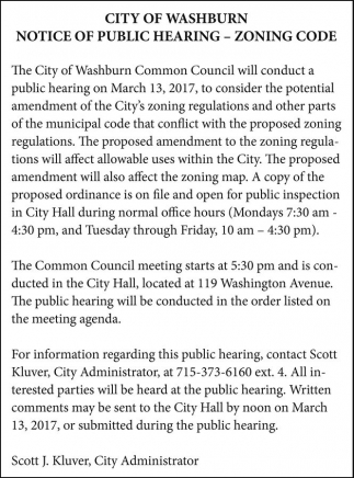 Notice of Public Hearing - Zoning Code