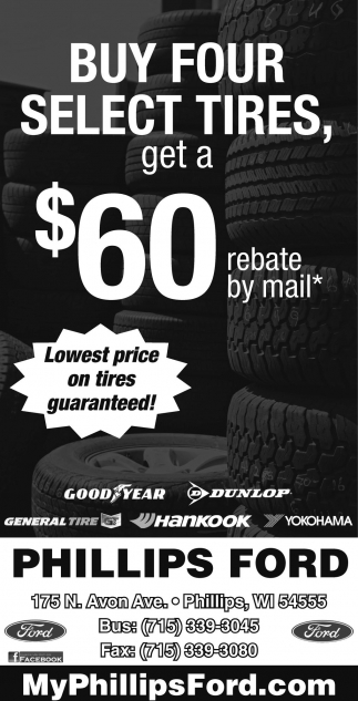 Buy four select tires, get a $60 rebate by mail