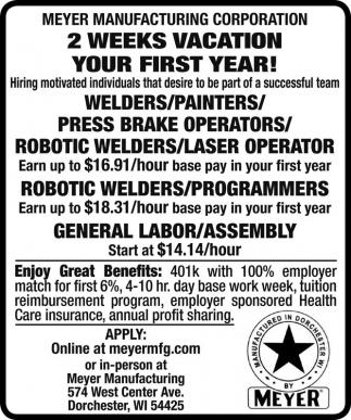 Welders / Painters / Press Brake / Operators / Robotic Welders / Laser Operator / Programmers / Assembly