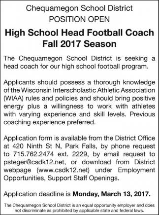 High School Head Football Coach Fall 2017 Season