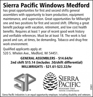 Genaral Assemblers, 2nd shift, millwrights