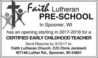 Certified Early Childhood teacher