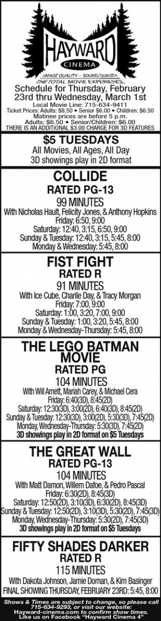 Collide, Fist Fight, The Lego Batman Movie, The Great Wall, Fifty Shades Darker