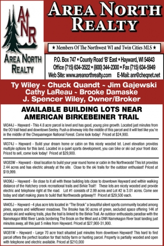 Available Building Lots Near American Birkebeiner Trail