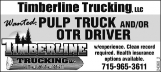 Pulp Truck and/or OTR Driver