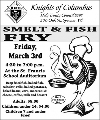 Smelt fish fry knights of columbus holy trinity council for Fish fry racine wi