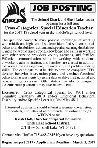 Cross Categorical Special Education Teacher