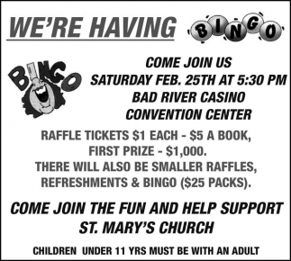 Bingo - Come join the fun and help support St. Mary's Church