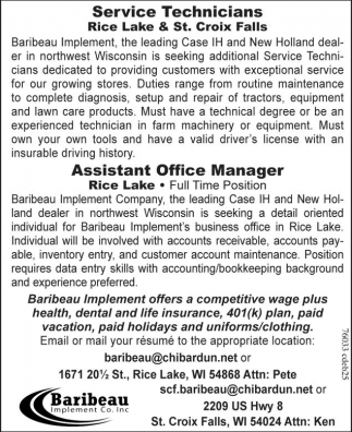 Service Technicians / Assistant Office Managers