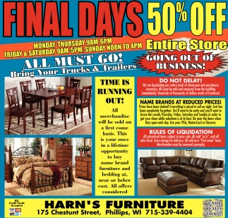 Final Days 50% off Harn s Furniture Outlet Phillips WI